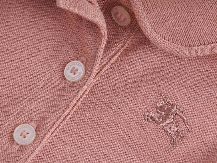 Flutter-sleeve Cotton Piqué Polo Shirt in Pale Rose | Burberry - cell image 1