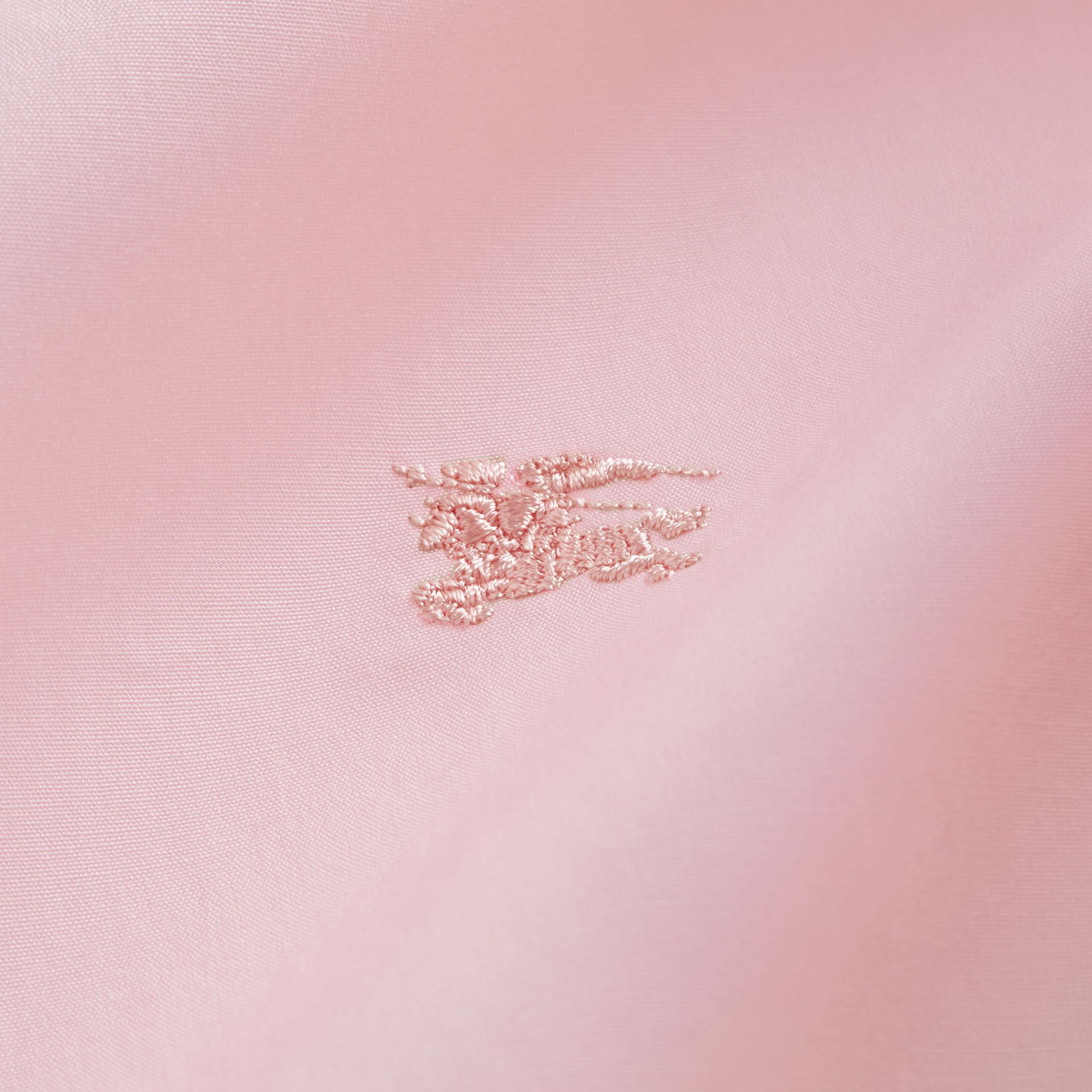 Check Detail Stretch Cotton Poplin Shirt in Pale Pink - Men | Burberry - gallery image 2
