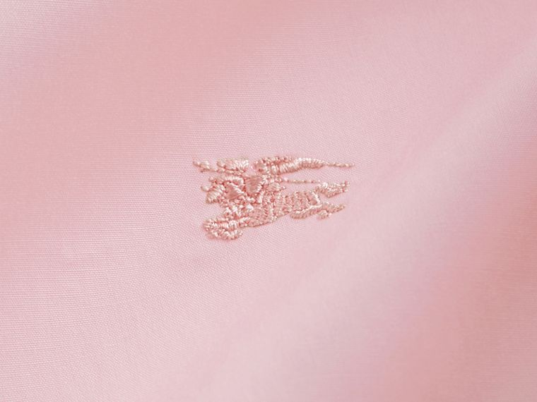 Check Detail Stretch Cotton Poplin Shirt in Pale Pink - Men | Burberry - cell image 1
