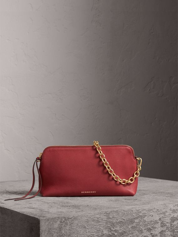 Grainy Leather Clutch Bag in Russet Red