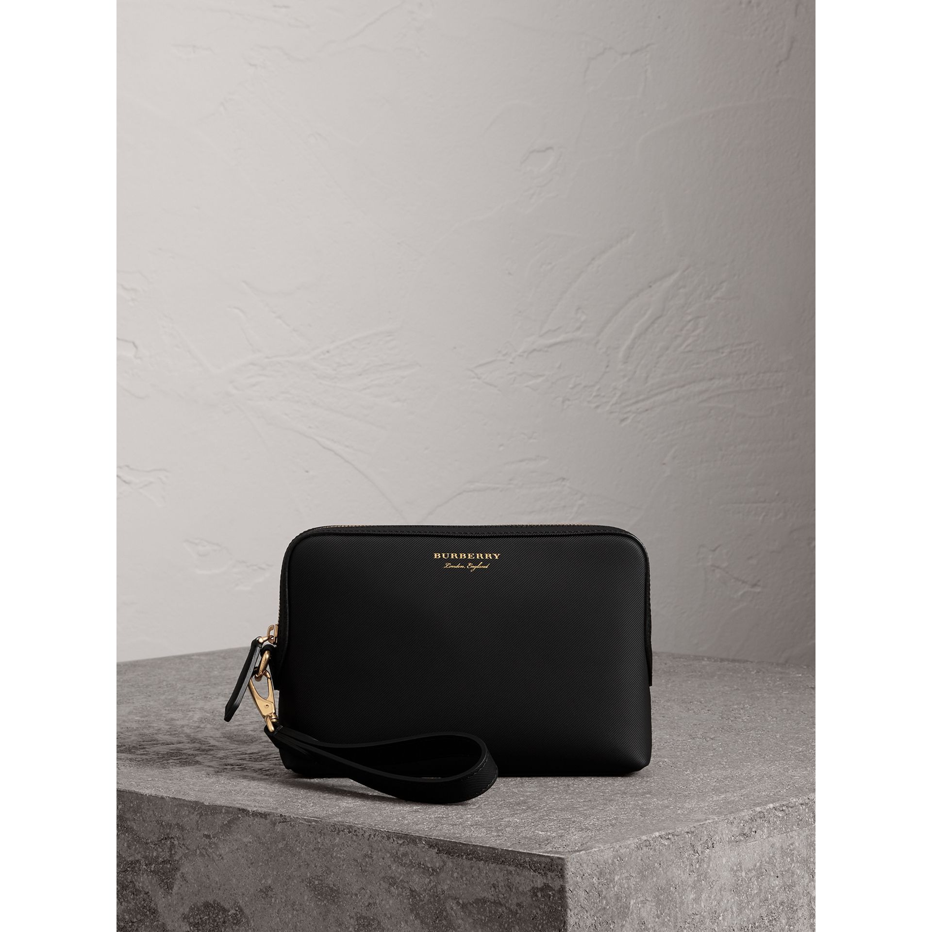 Trench Leather Pouch in Black | Burberry Canada - gallery image 0