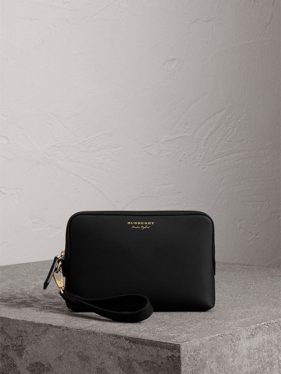 Trench Leather Pouch in Black