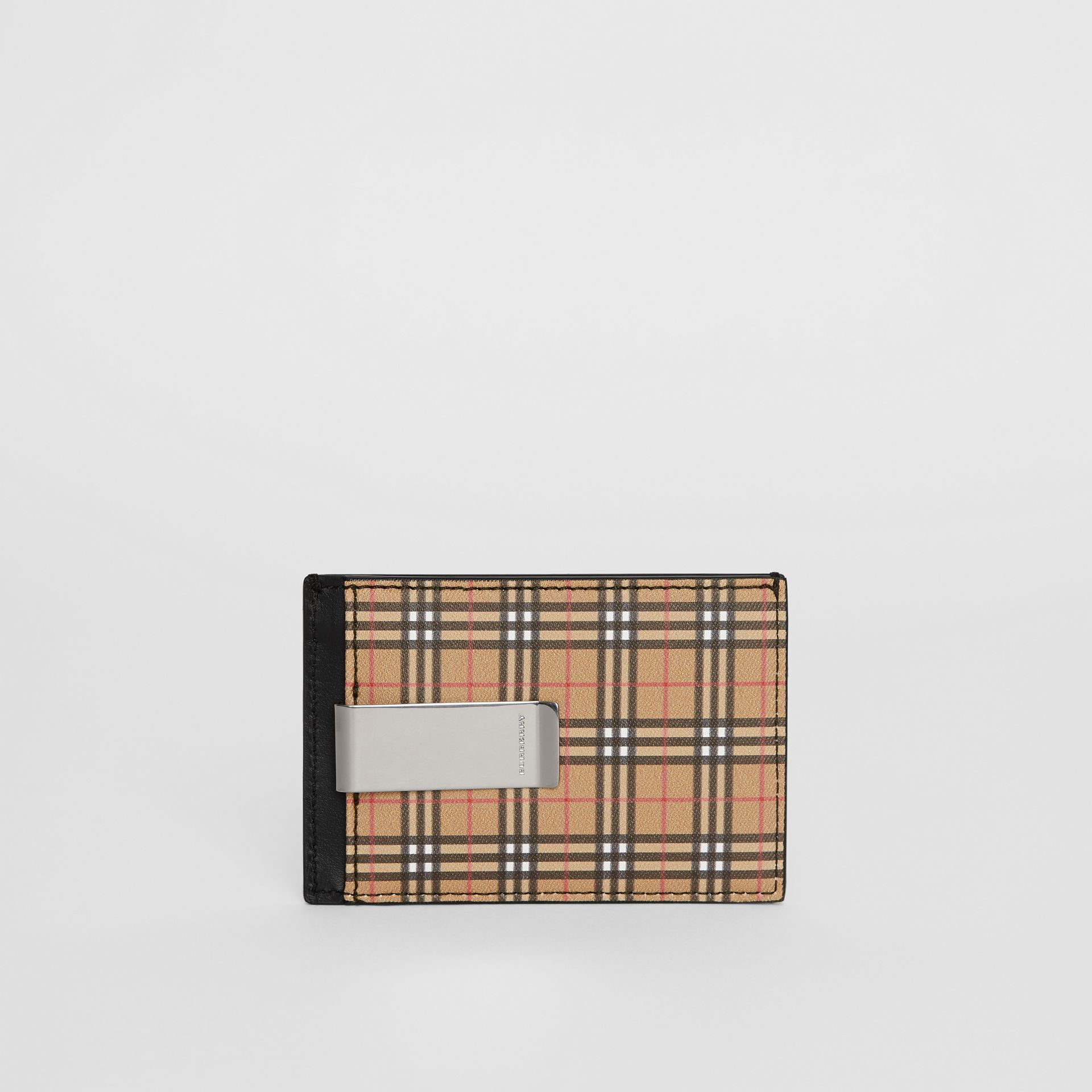 Small Scale Check and Leather Money Clip Card Case in Antique Yellow/black - Men | Burberry - gallery image 5