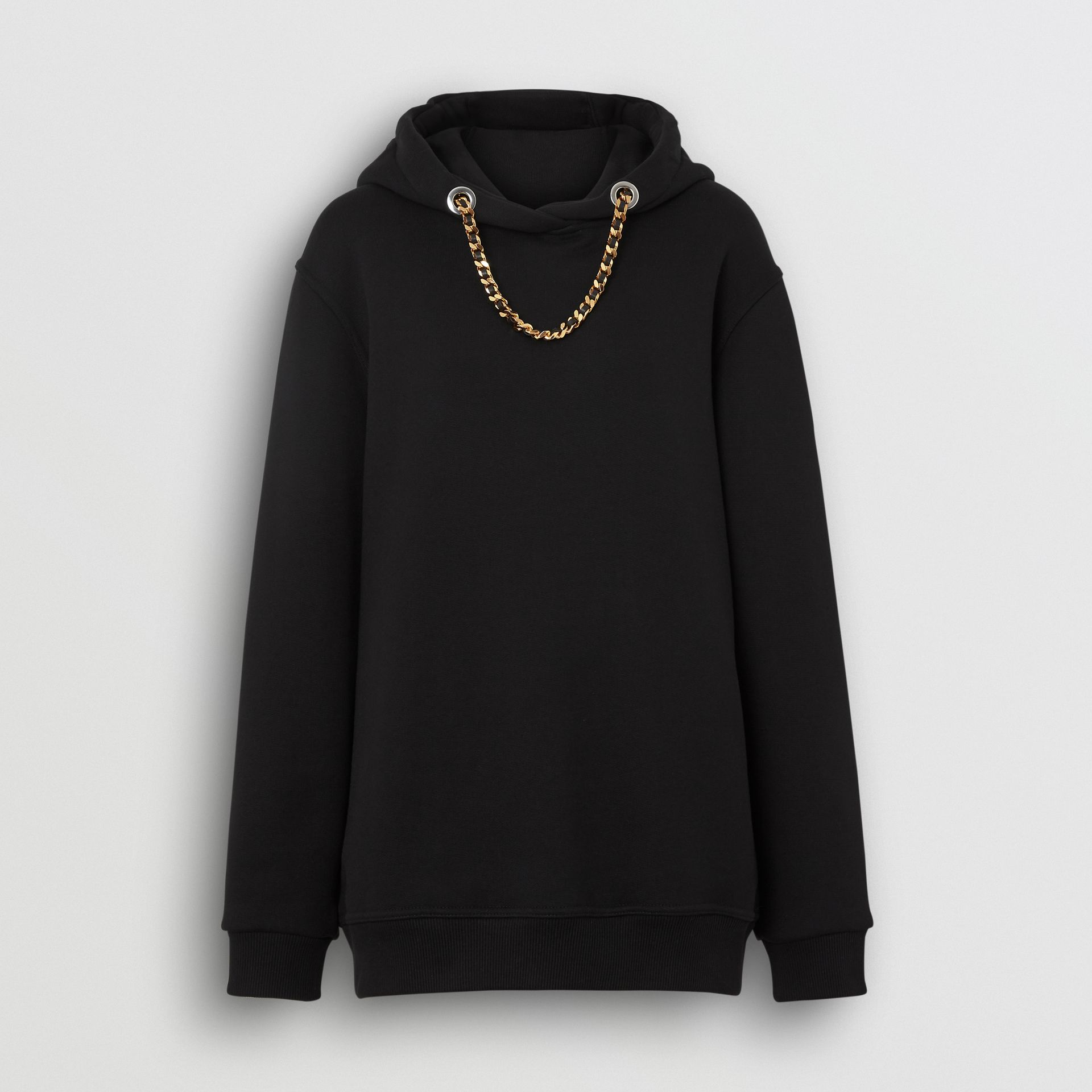 Chain Detail Cotton Oversized Hoodie in Black - Women | Burberry Hong Kong - gallery image 3