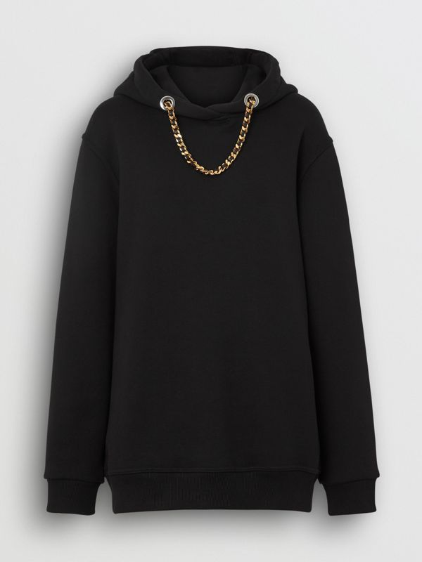 Chain Detail Cotton Oversized Hoodie in Black - Women | Burberry United Kingdom - cell image 3