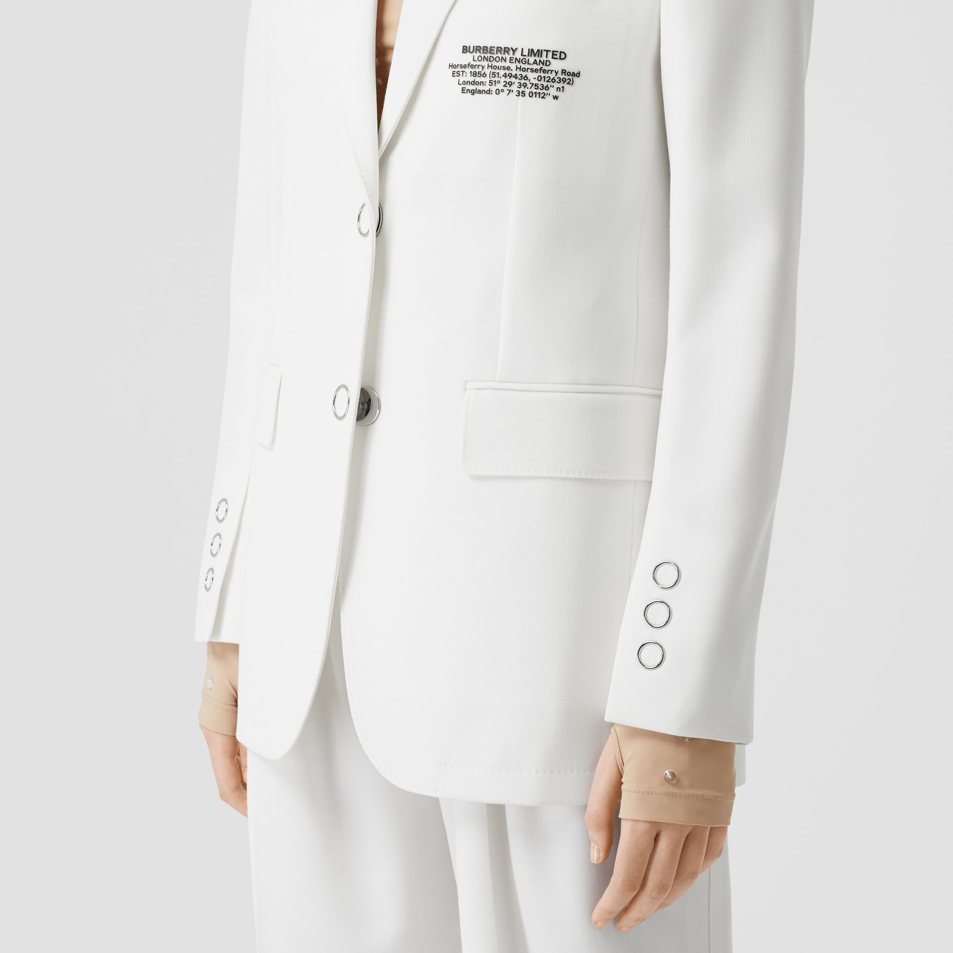Location Print Wool Blend Tailored Jacket in Optic White - Women | Burberry - gallery image 4