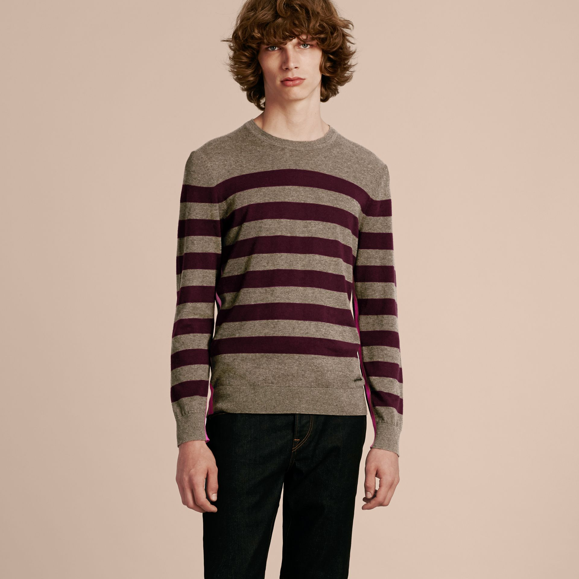 Mink grey Striped Cashmere Cotton Sweater Mink Grey - gallery image 6