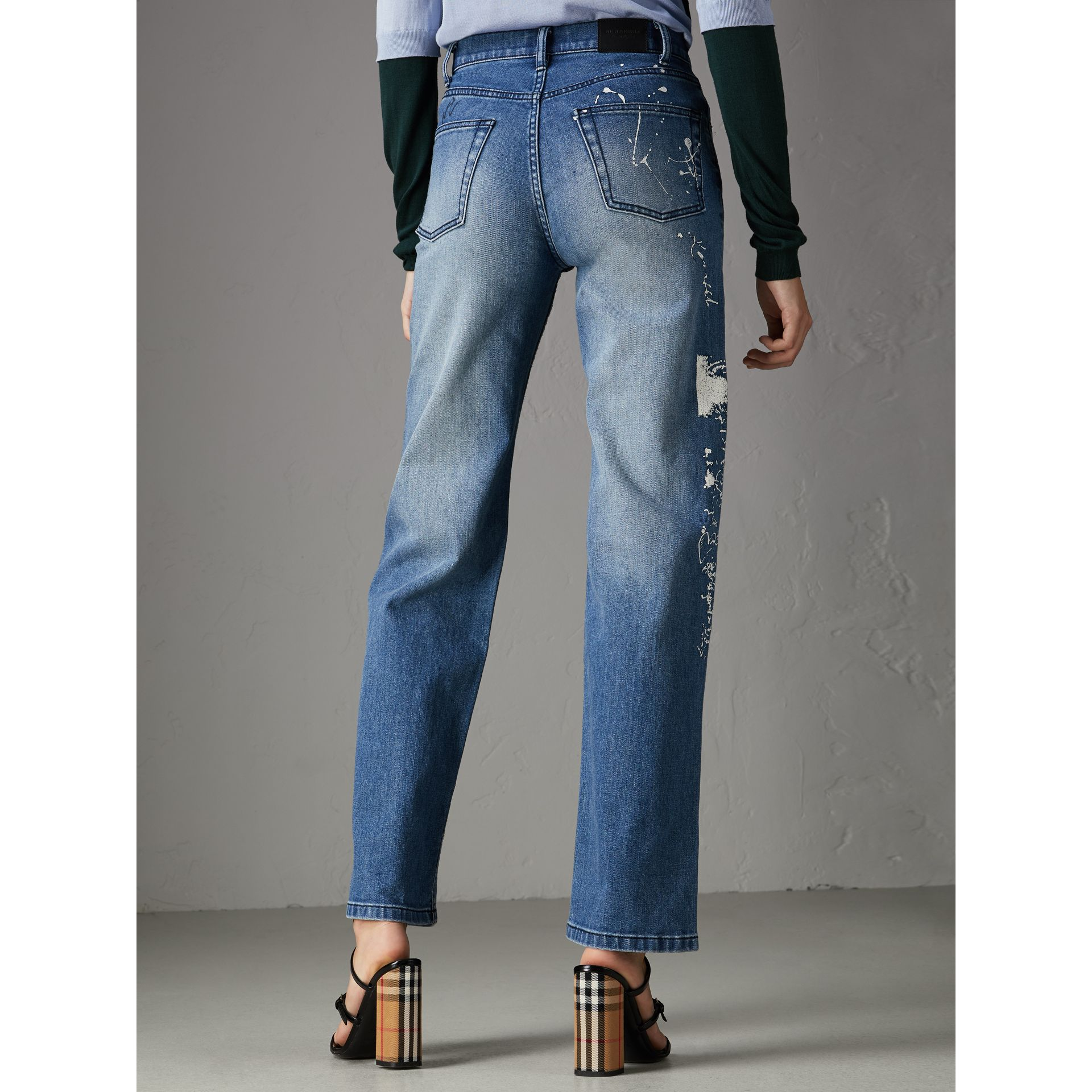 Straight Fit Postcard Print Stretch Denim Jeans in True Indigo Melange - Women | Burberry - gallery image 2