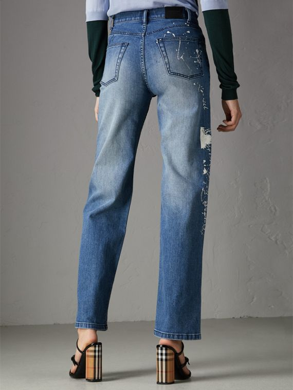 Straight Fit Postcard Print Stretch Jeans in True Indigo Melange - Women | Burberry United States - cell image 2