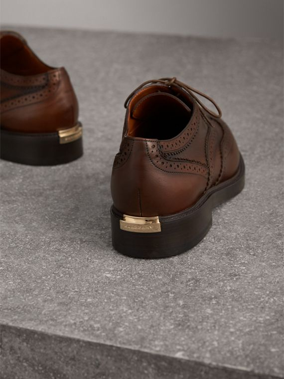 Leather Wingtip Brogues in Bright Camel - Women | Burberry - cell image 3
