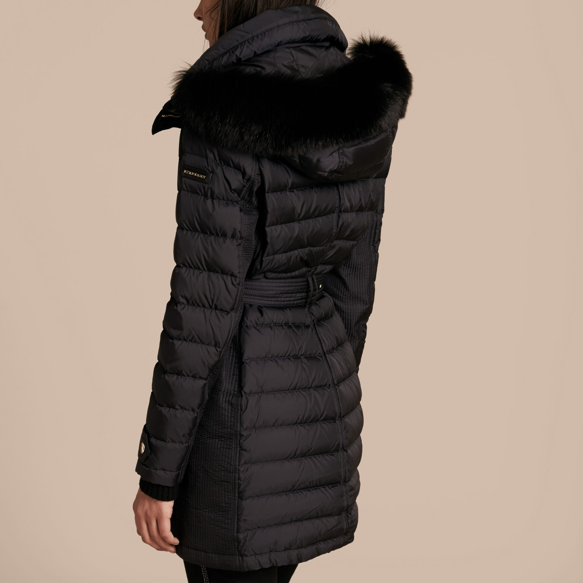 Navy Down-filled Parka with Detachable Fox Fur Trim Navy - gallery image 3
