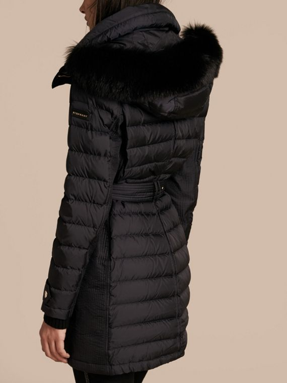 Navy Down-filled Parka with Detachable Fox Fur Trim Navy - cell image 2