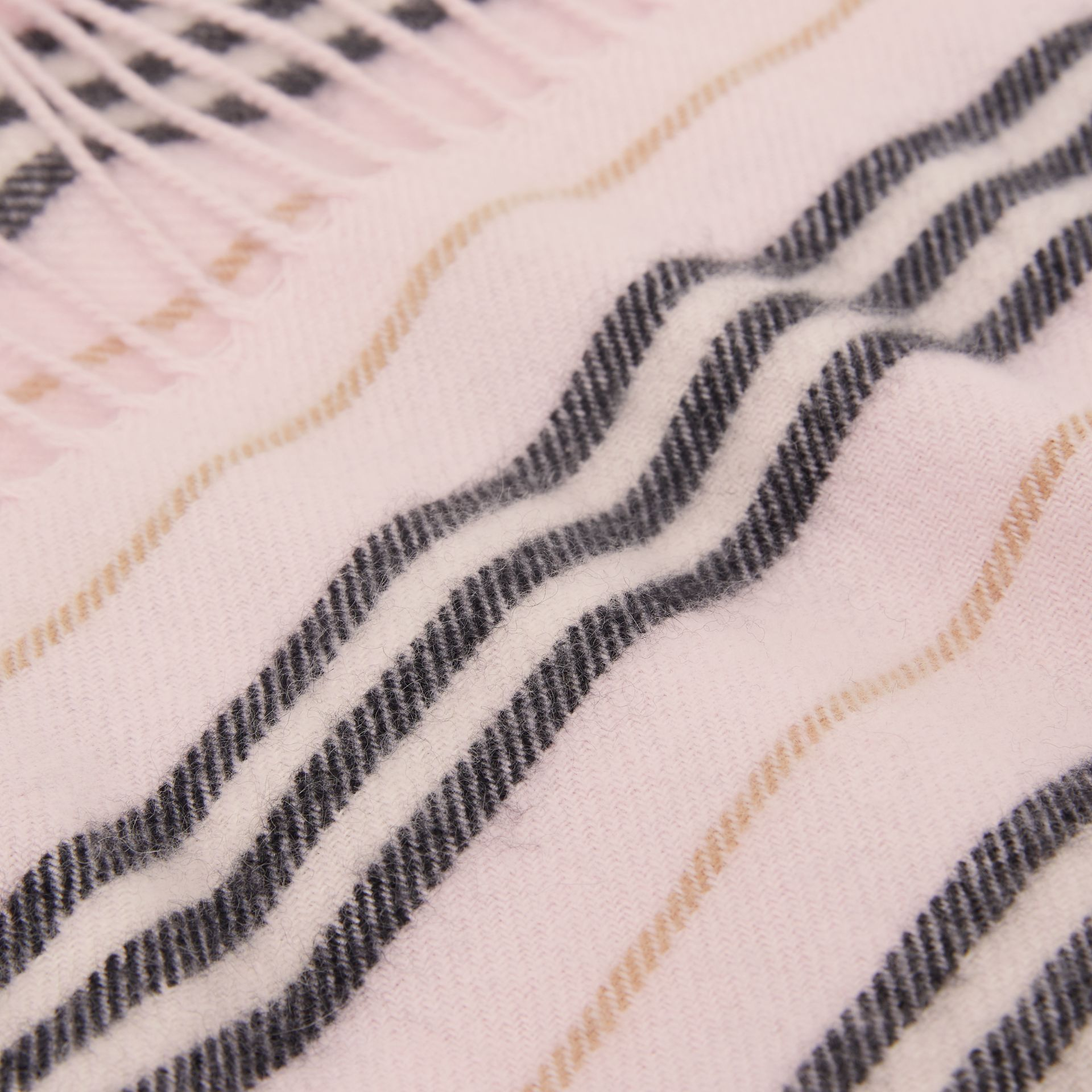 Fringed Icon Stripe Cashmere Scarf in Alabaster - Children | Burberry United States - gallery image 1