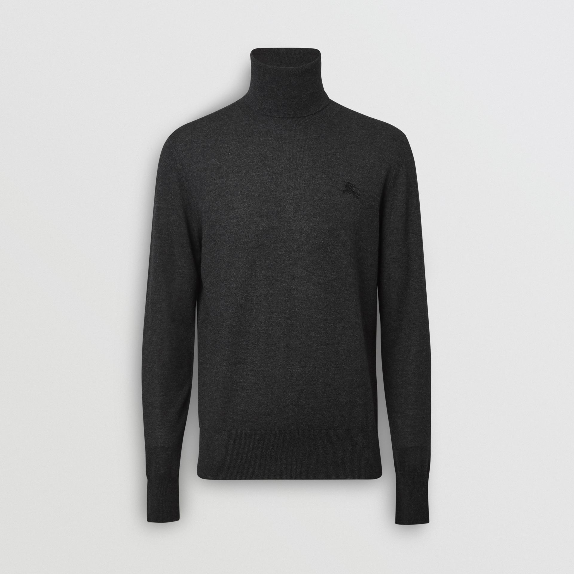 Cashmere Silk Roll-neck Sweater in Charcoal - Men | Burberry United Kingdom - gallery image 3