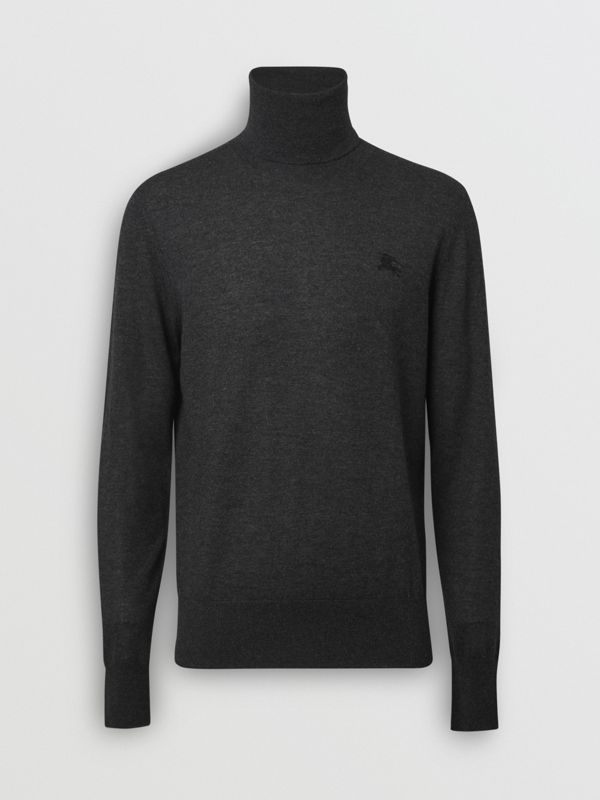 Cashmere Silk Roll-neck Sweater in Charcoal - Men | Burberry - cell image 3