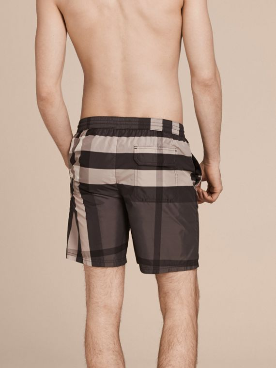 Check Swim Shorts in Charcoal - Men | Burberry - cell image 2