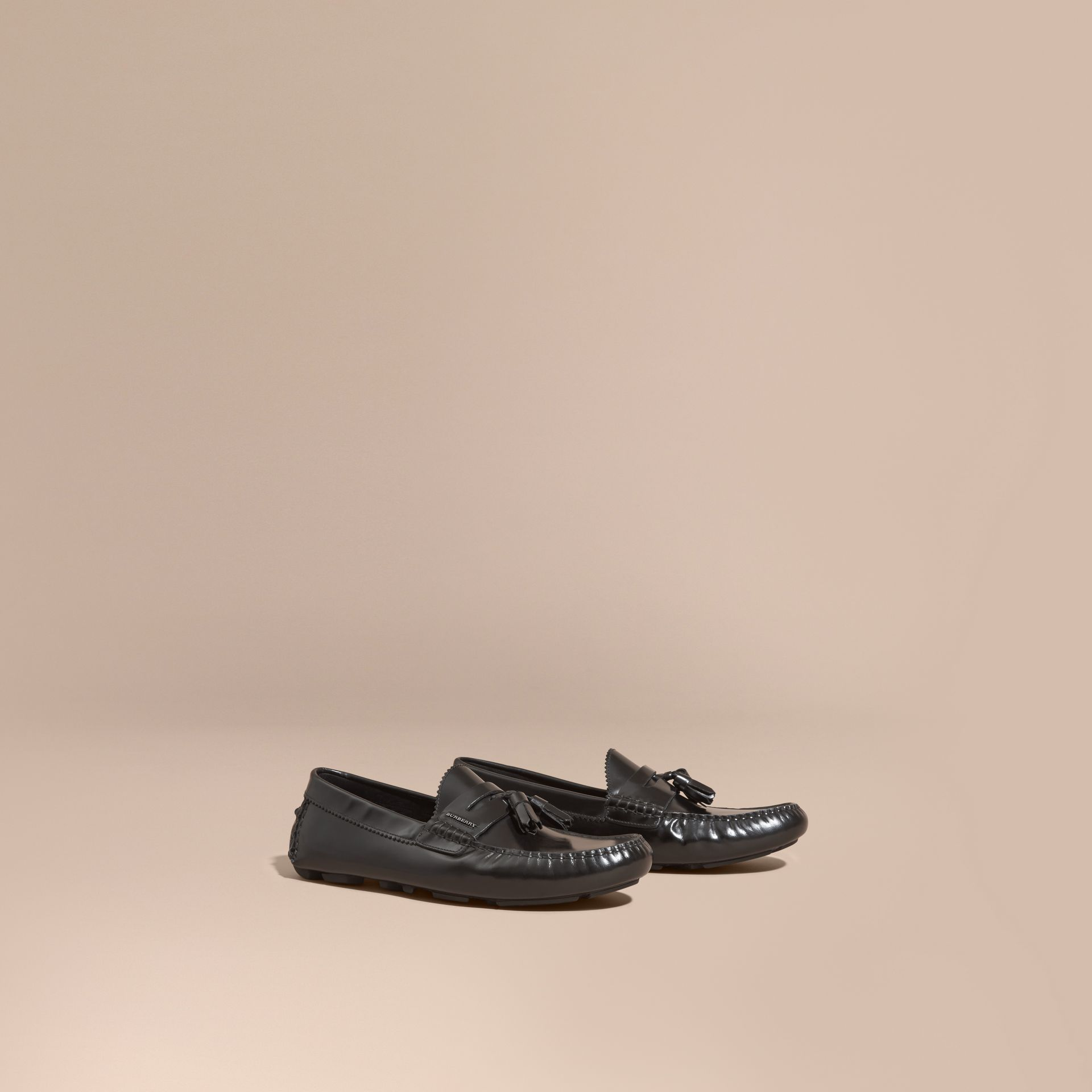 Black Tasselled Polished Leather Loafers Black - gallery image 1