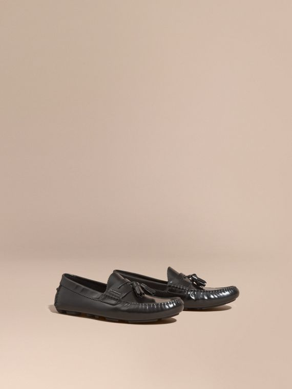 Tasselled Polished Leather Loafers Black