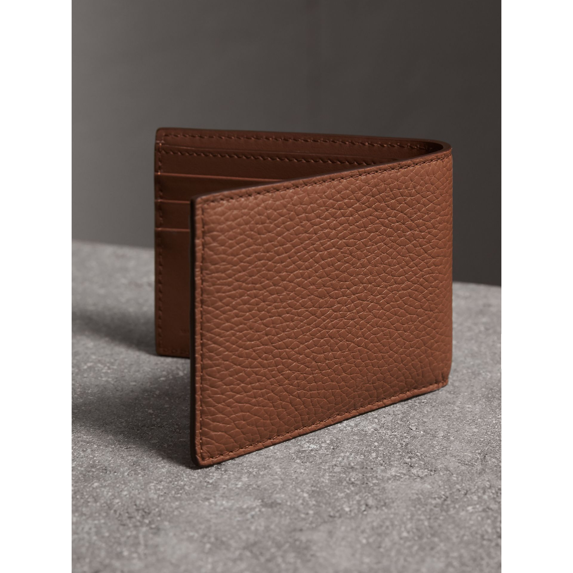 Textured Leather Bifold Wallet in Chestnut Brown - Men | Burberry - gallery image 3
