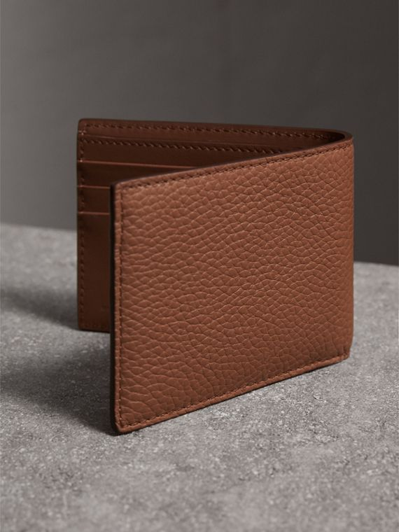 Textured Leather Bifold Wallet in Chestnut Brown - Men | Burberry - cell image 2