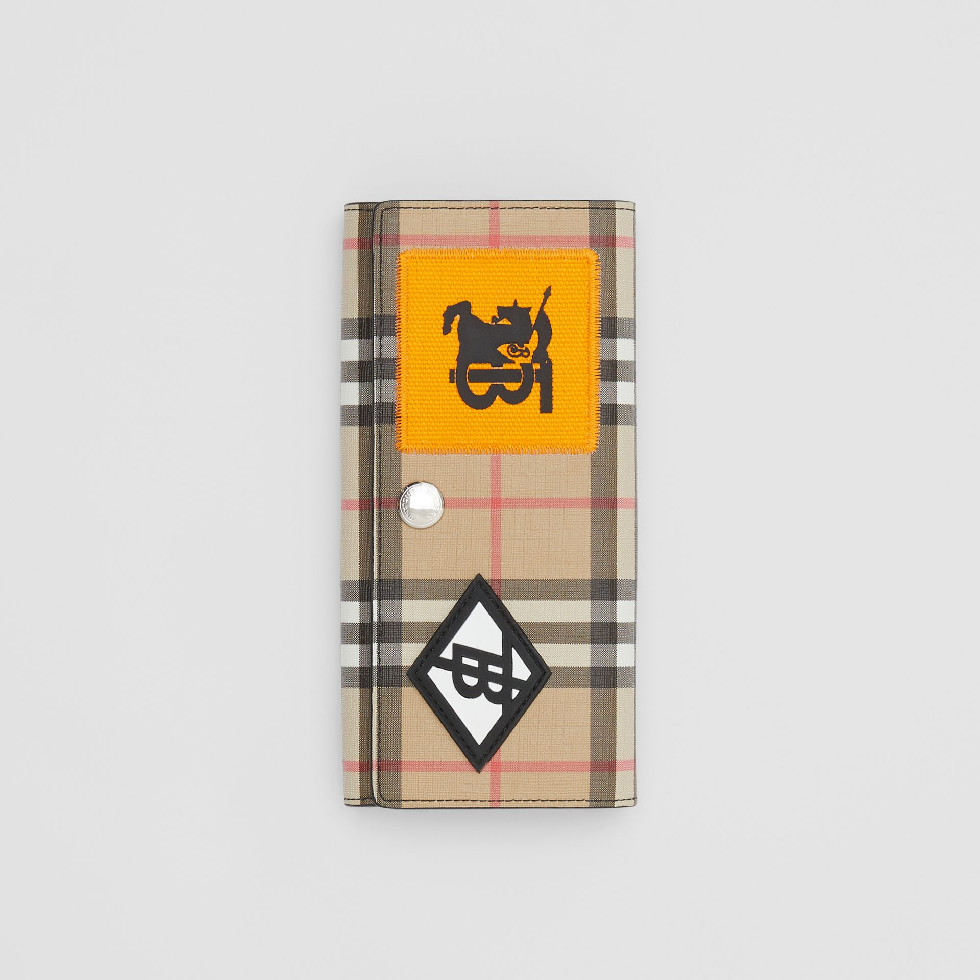 Logo Graphic Vintage Check E-canvas Continental Wallet in Archive Beige - Women | Burberry - gallery image 0