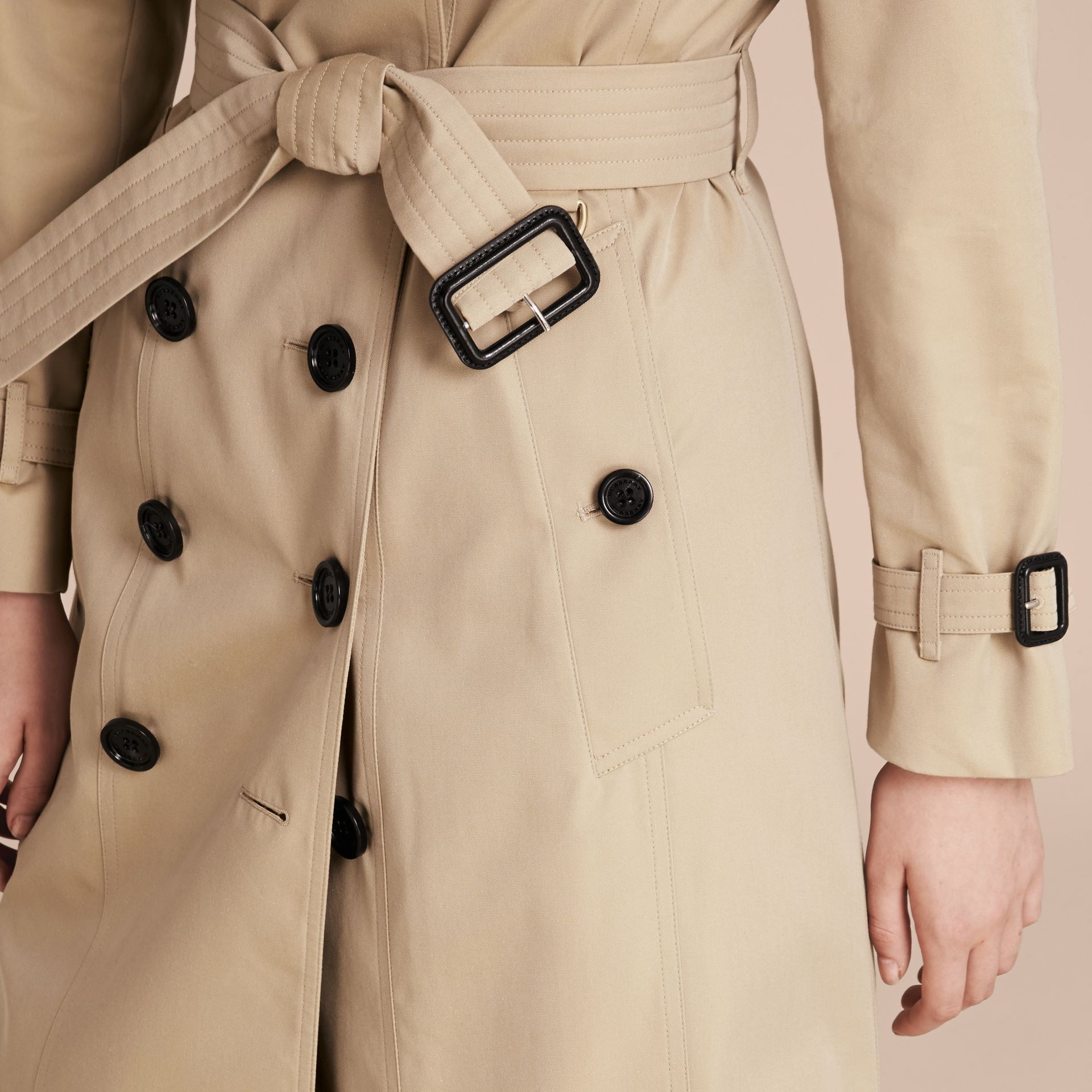 Long Cotton Gabardine Trench Coat - gallery image 5
