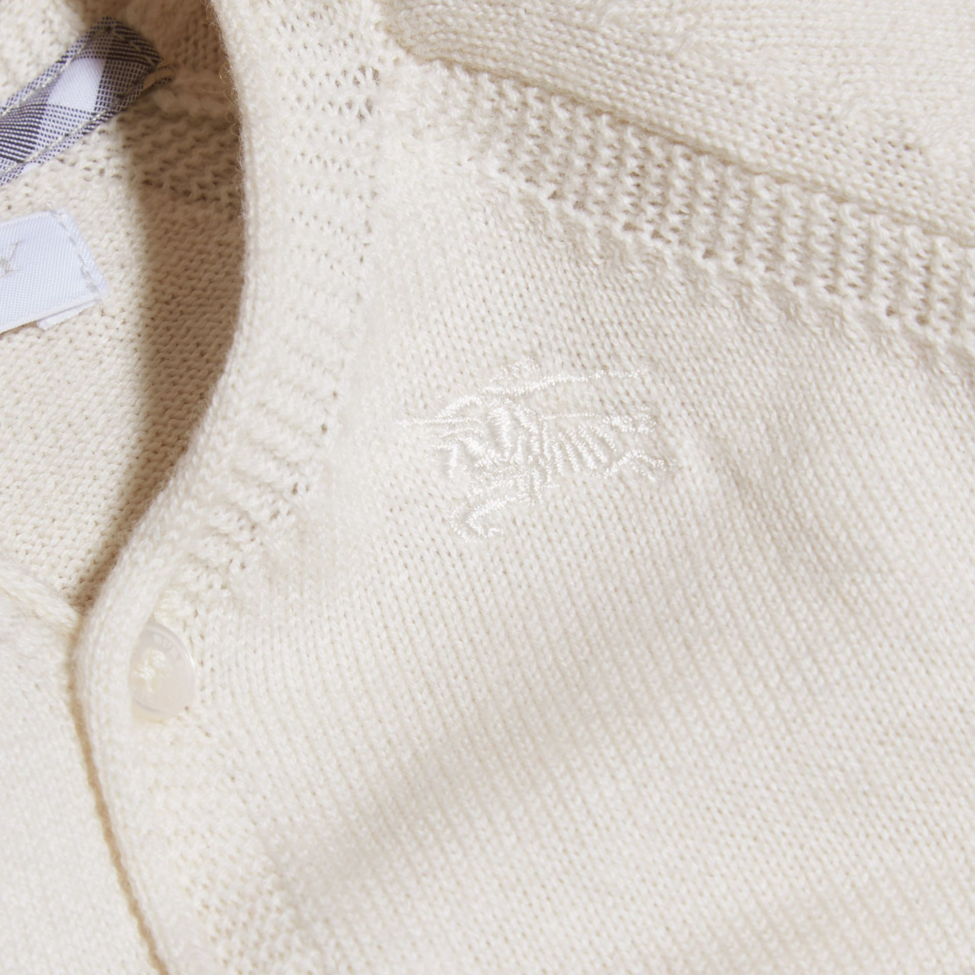 Natural white V-neck Cashmere Cotton Cardigan Natural White - gallery image 2