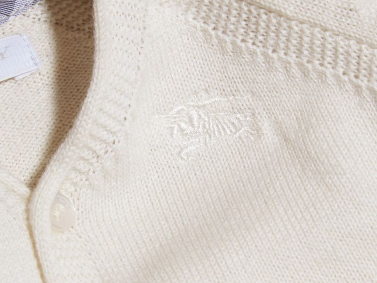 Natural white V-neck Cashmere Cotton Cardigan Natural White - cell image 1
