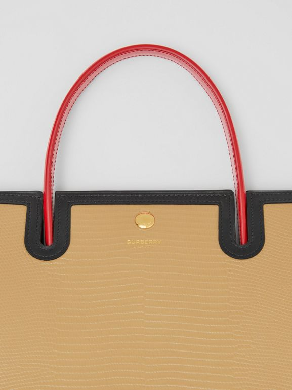 Medium Embossed Leather Title Bag in Honey - Women | Burberry - cell image 1