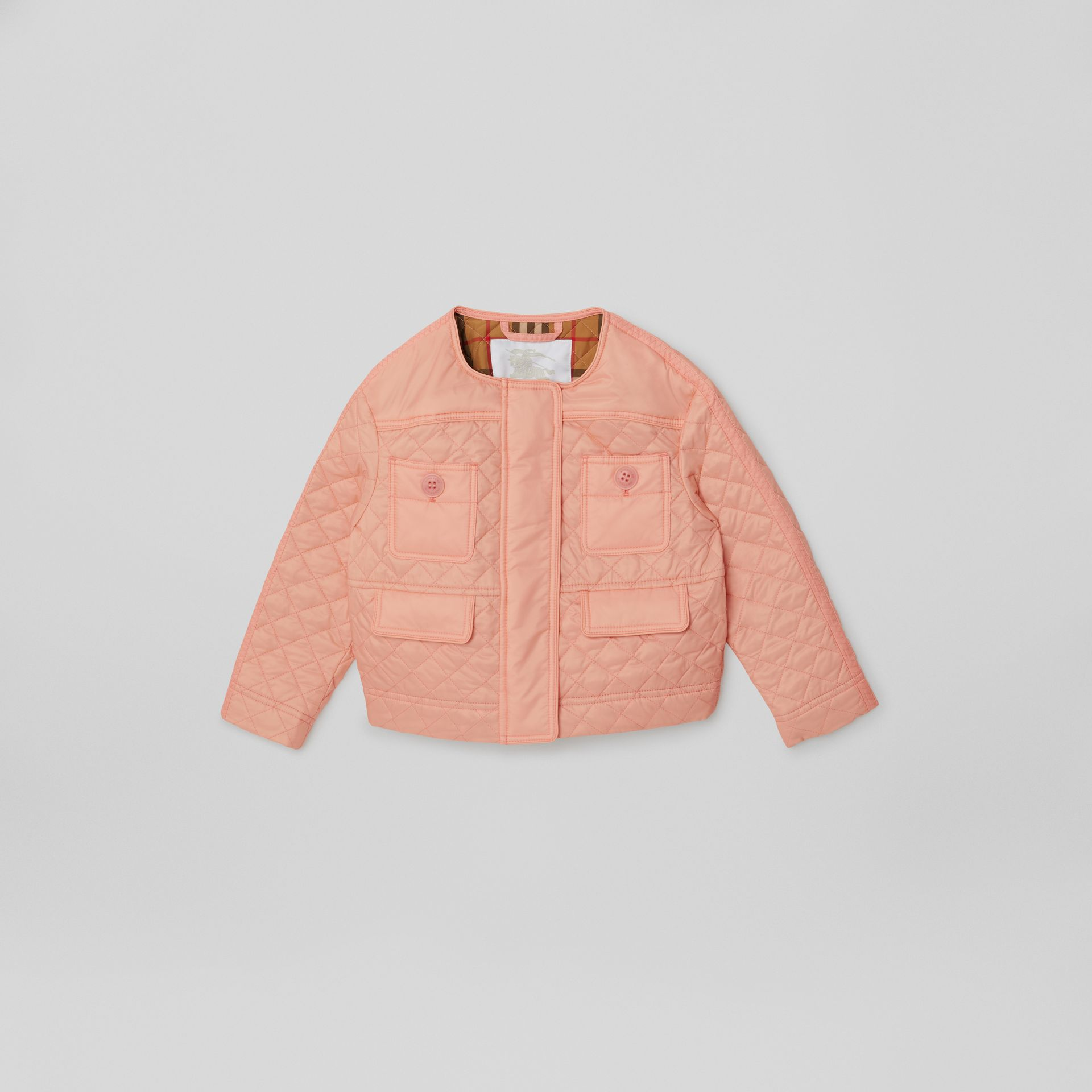 Lightweight Diamond Quilted Jacket in Apricot Pink | Burberry - gallery image 0