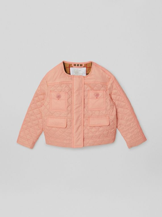 Lightweight Diamond Quilted Jacket in Apricot Pink