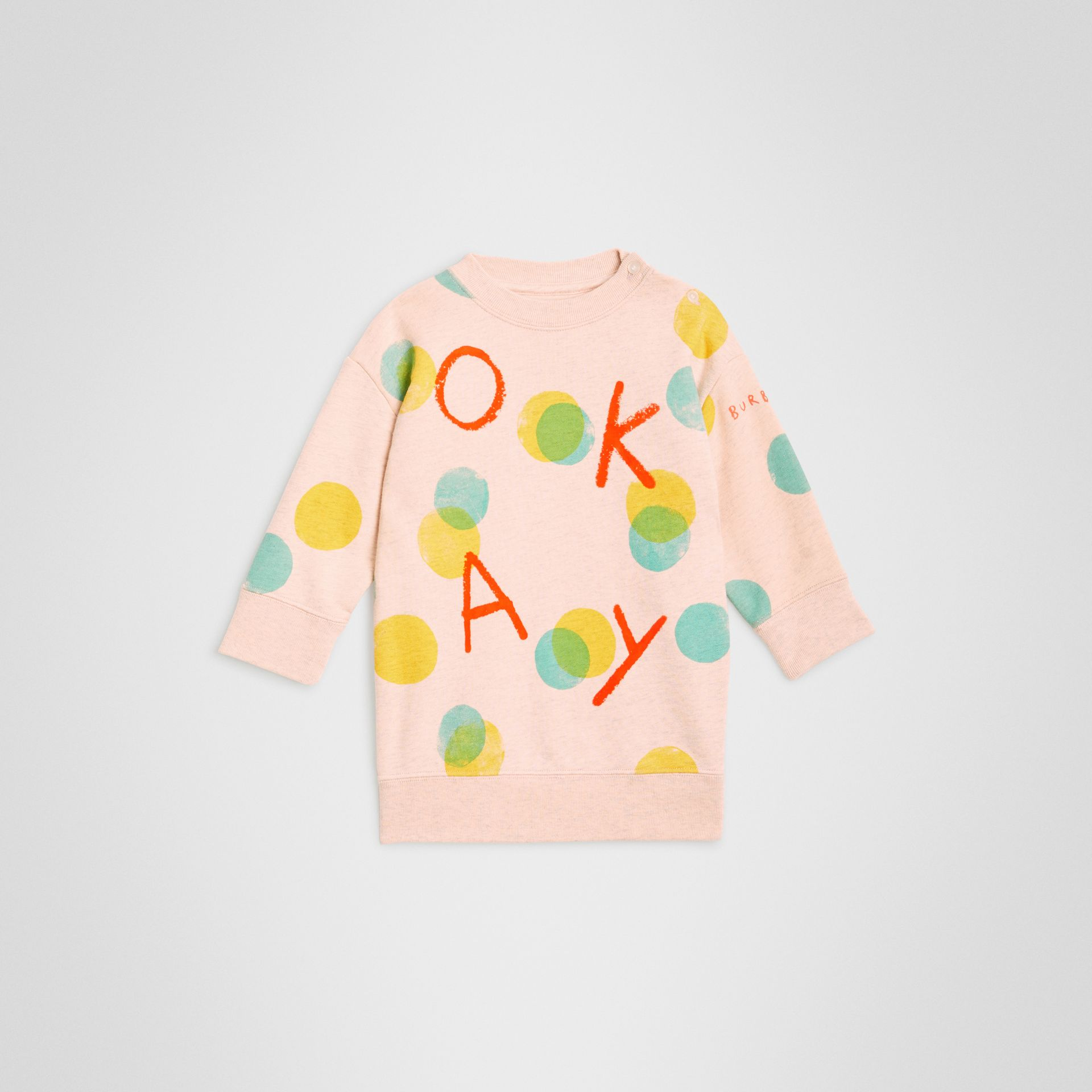 Oversized Spot Print Cotton Sweater Dress in Oyster Pink Melange - Children | Burberry - gallery image 0