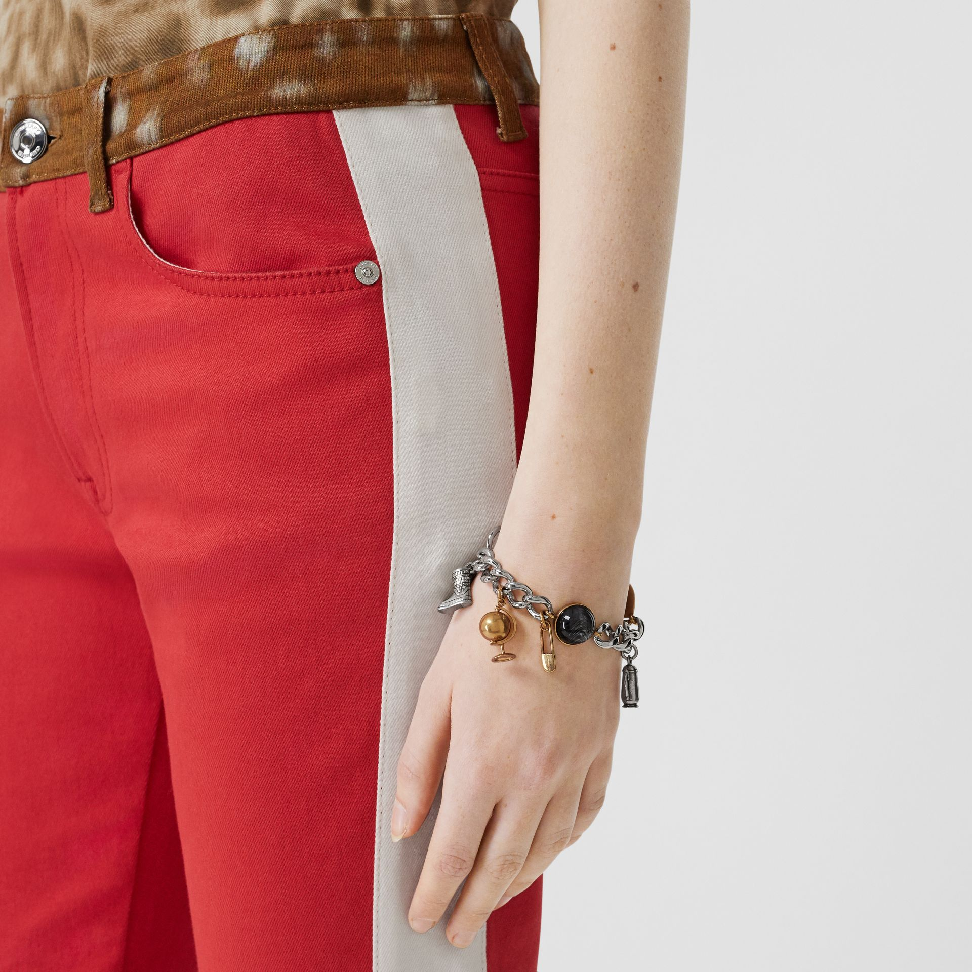 Marbled Resin Charm Chain Bracelet in Palladio - Women | Burberry Canada - gallery image 2