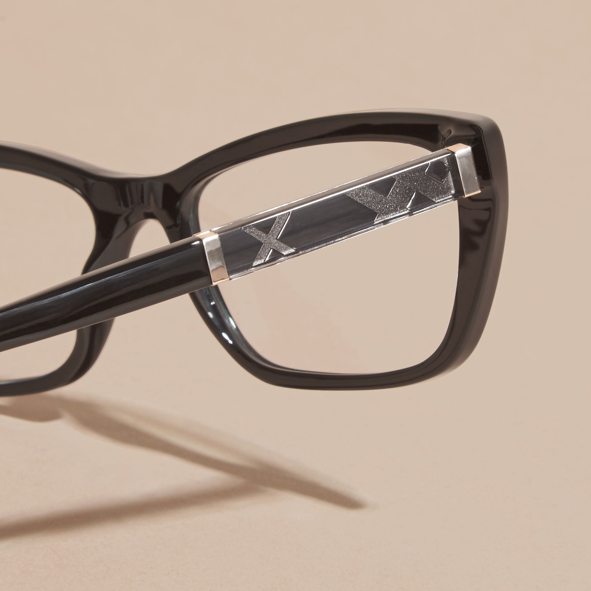Check Detail Rectangular Cat-eye Optical Frames in Black - gallery image 2