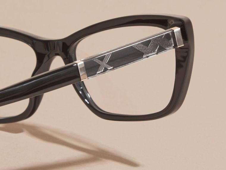 Black Check Detail Rectangular Cat-eye Optical Frames Black - cell image 1
