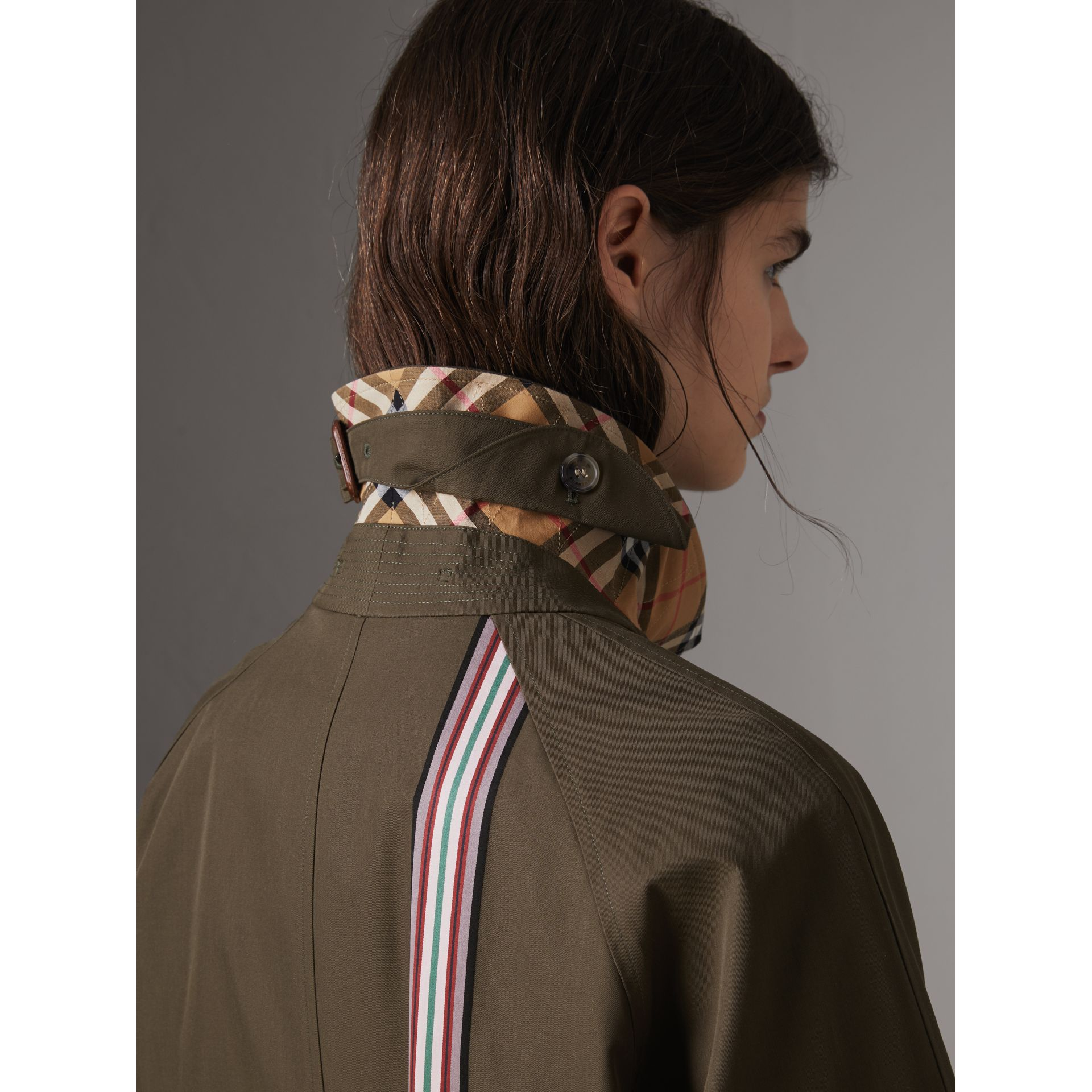 Striped Ribbon Cotton Gabardine Car Coat in Olive - Women | Burberry - gallery image 4