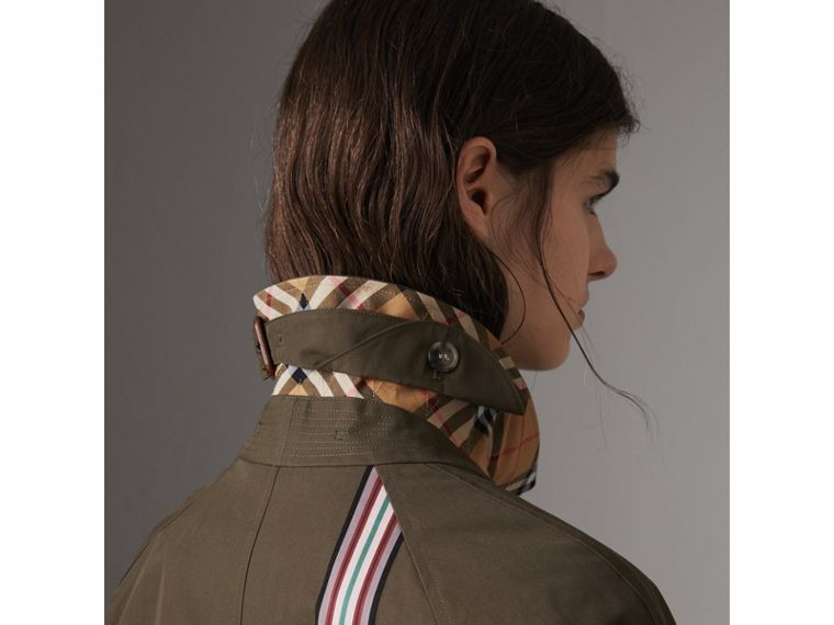Collegiate Stripe Cotton Gabardine Car Coat in Olive - Women | Burberry - cell image 4