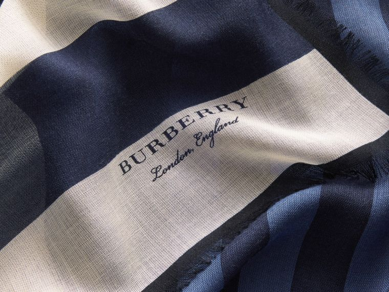 Contrast Stripe Cashmere Silk Scarf in Indigo - Women | Burberry - cell image 1