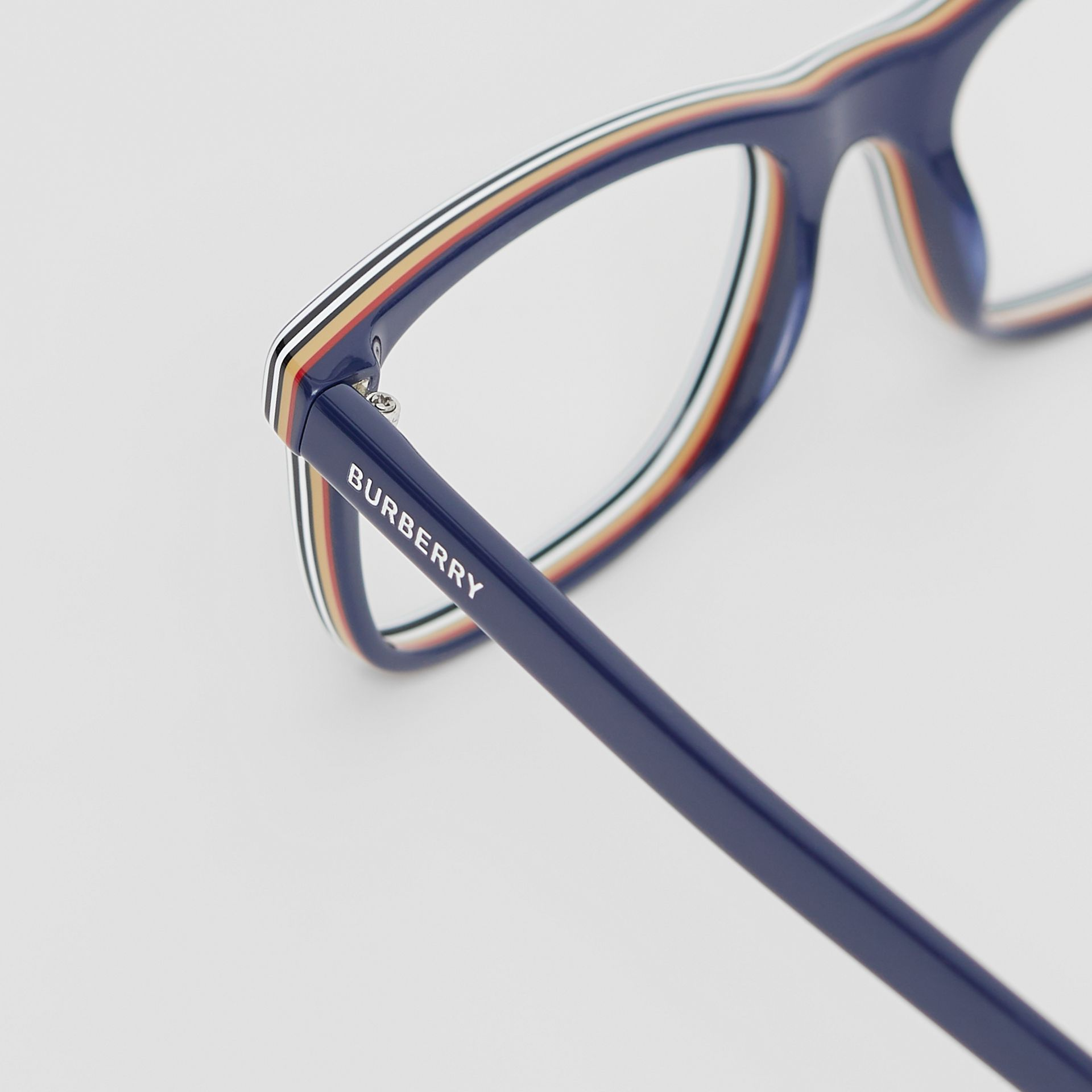 Icon Stripe Detail Rectangular Optical Frames in Blue - Men | Burberry - gallery image 1