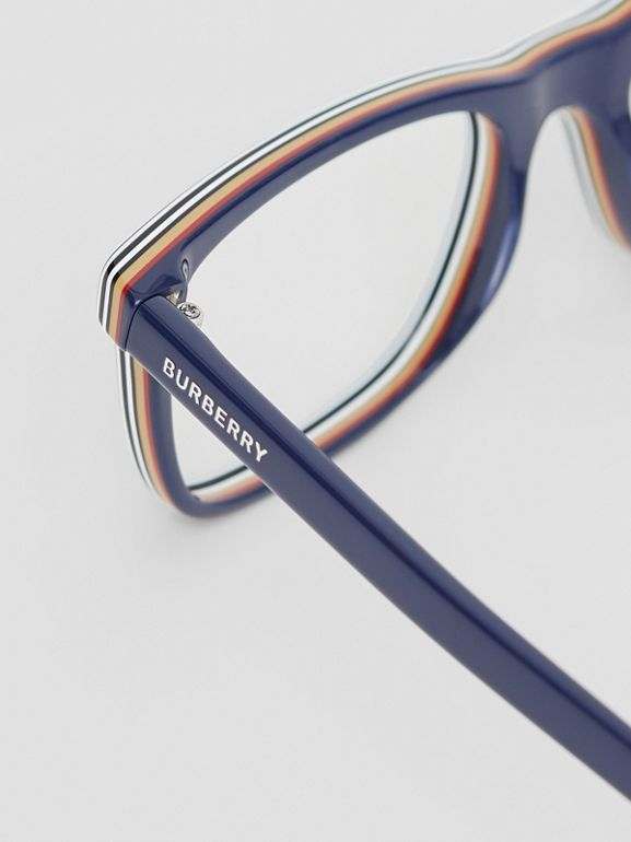 Icon Stripe Detail Rectangular Optical Frames in Blue - Men | Burberry - cell image 1