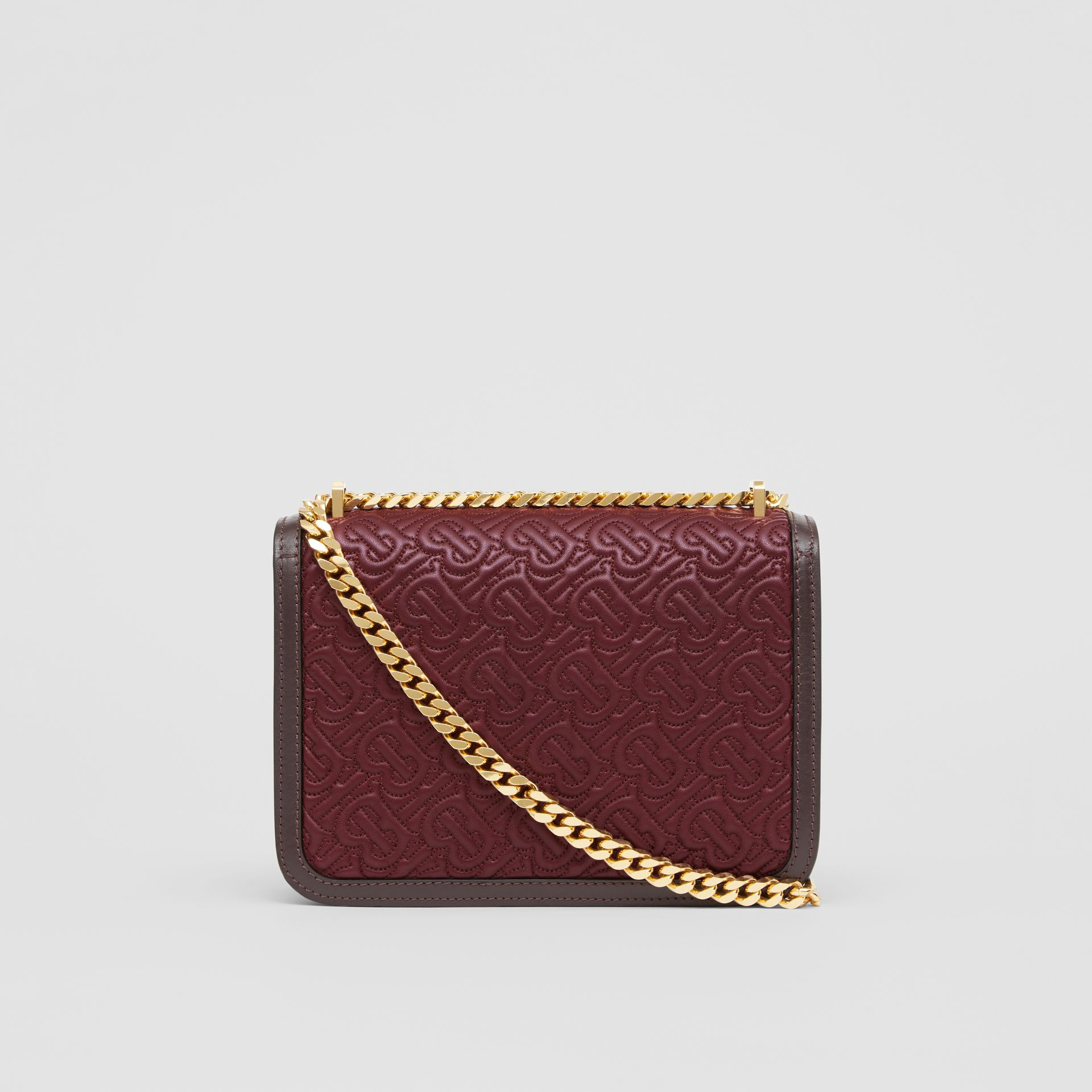 Small Quilted Monogram Lambskin TB Bag in Dark Burgundy - Women | Burberry - gallery image 7