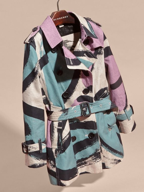 Graphic Print Cotton Trench Coat - cell image 2