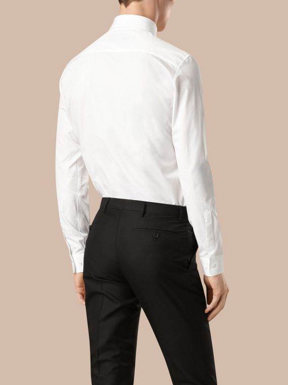 Slim Fit Button-down Collar Cotton Poplin Shirt in White - Men | Burberry - cell image 2