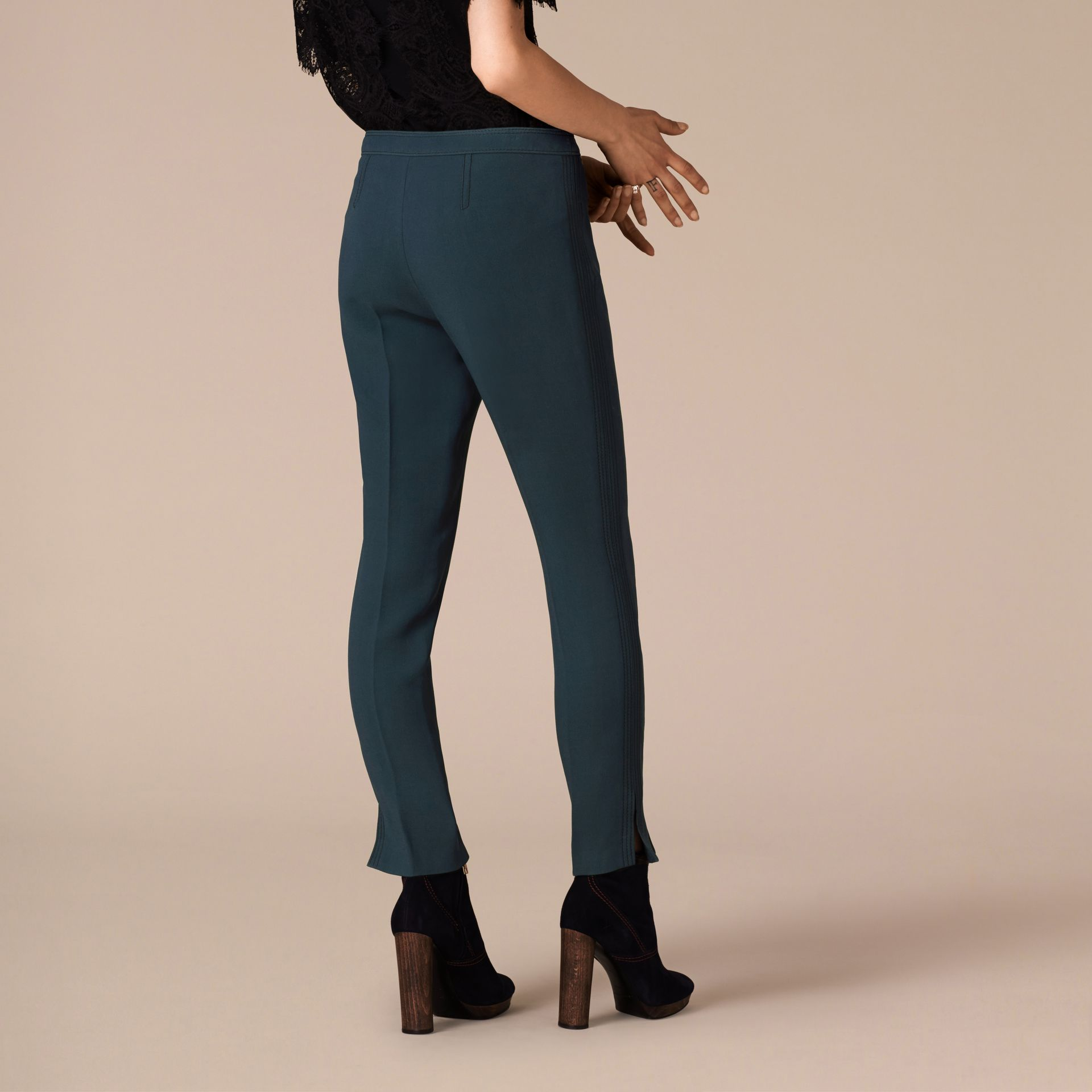 Ink blue Wool Silk Straight Leg Trousers Ink Blue - gallery image 3