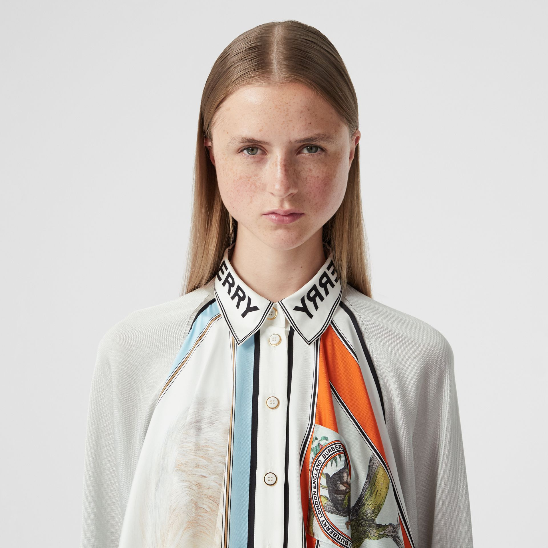 Animalia Print Silk Scarf Detail Knitted Top in Porcelain - Women | Burberry United States - gallery image 1