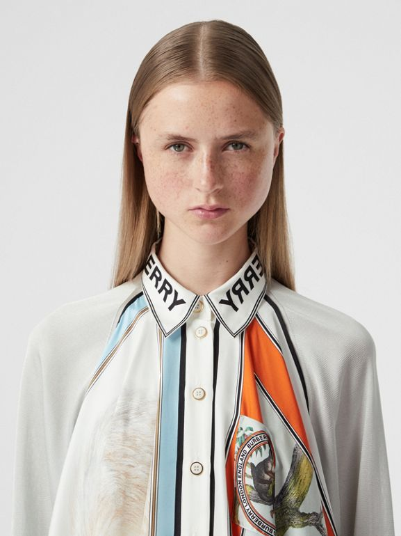 Animalia Print Silk Scarf Detail Knitted Top in Porcelain - Women | Burberry United States - cell image 1