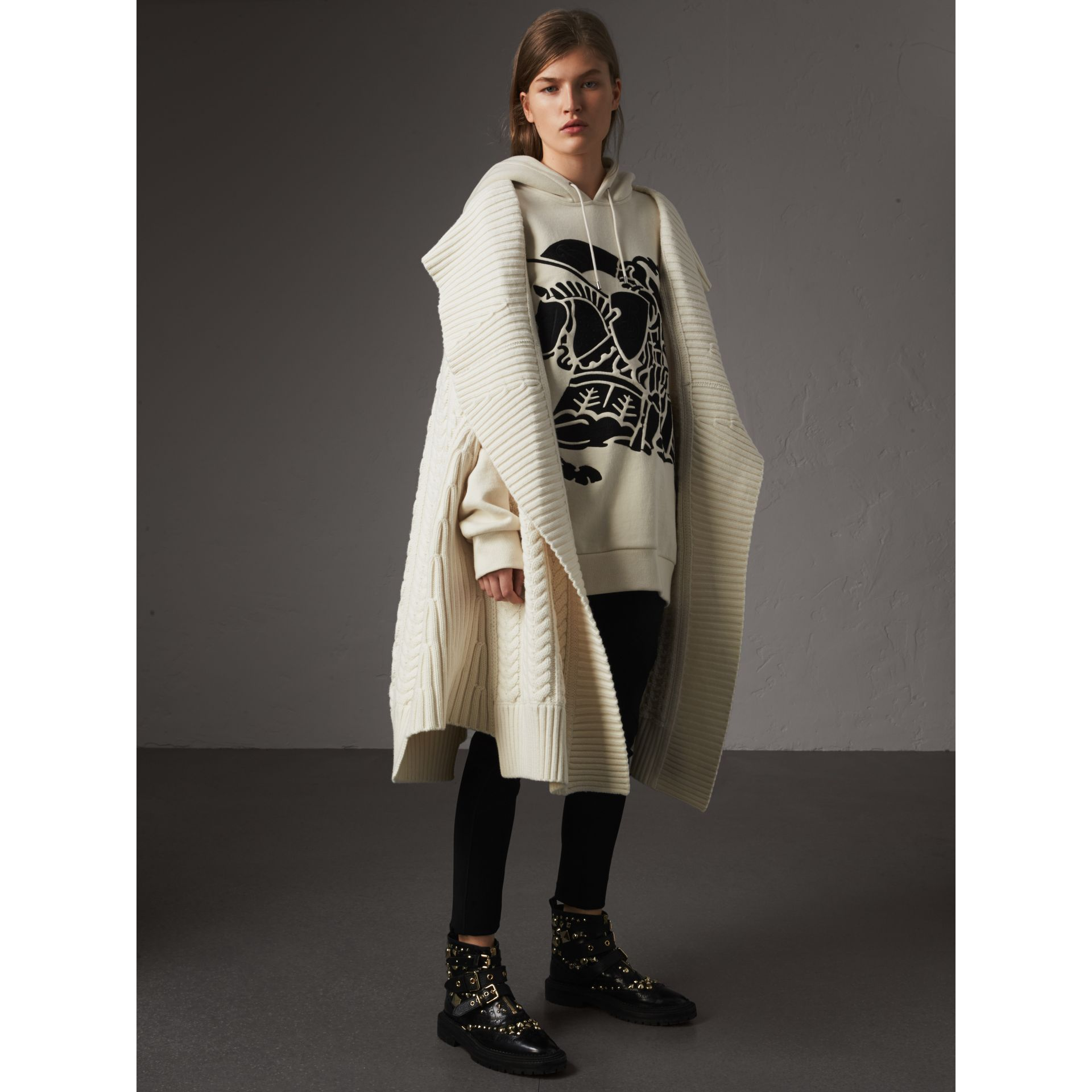 Equestrian Knight Device Cotton Hooded Sweatshirt in Natural White - Women | Burberry - gallery image 5