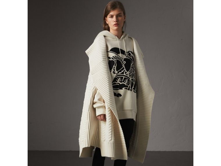 Equestrian Knight Device Cotton Hooded Sweatshirt in Natural White - Women | Burberry United Kingdom - cell image 4