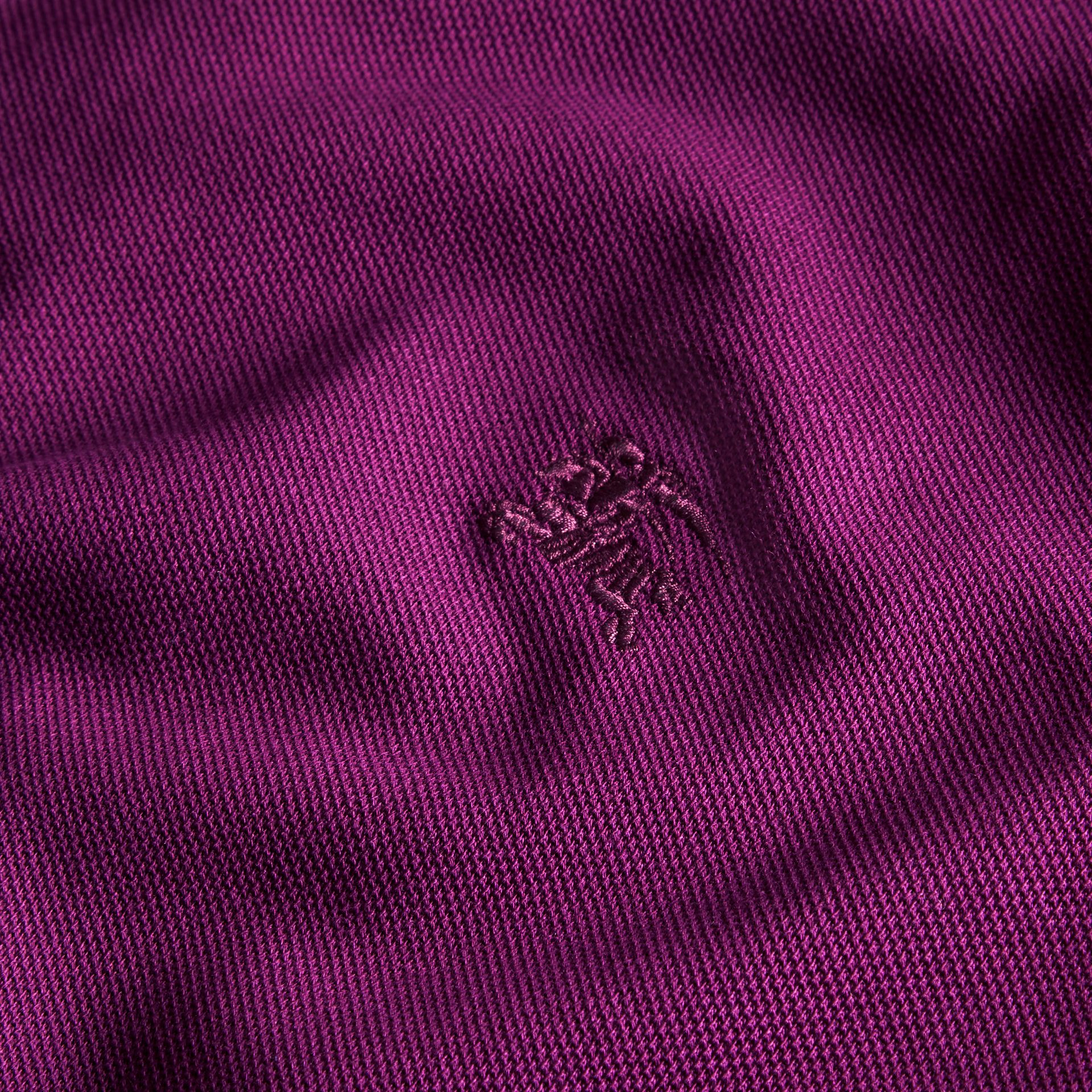 Check Placket Cotton Piqué Polo Shirt Deep Purple Amethyst - gallery image 2