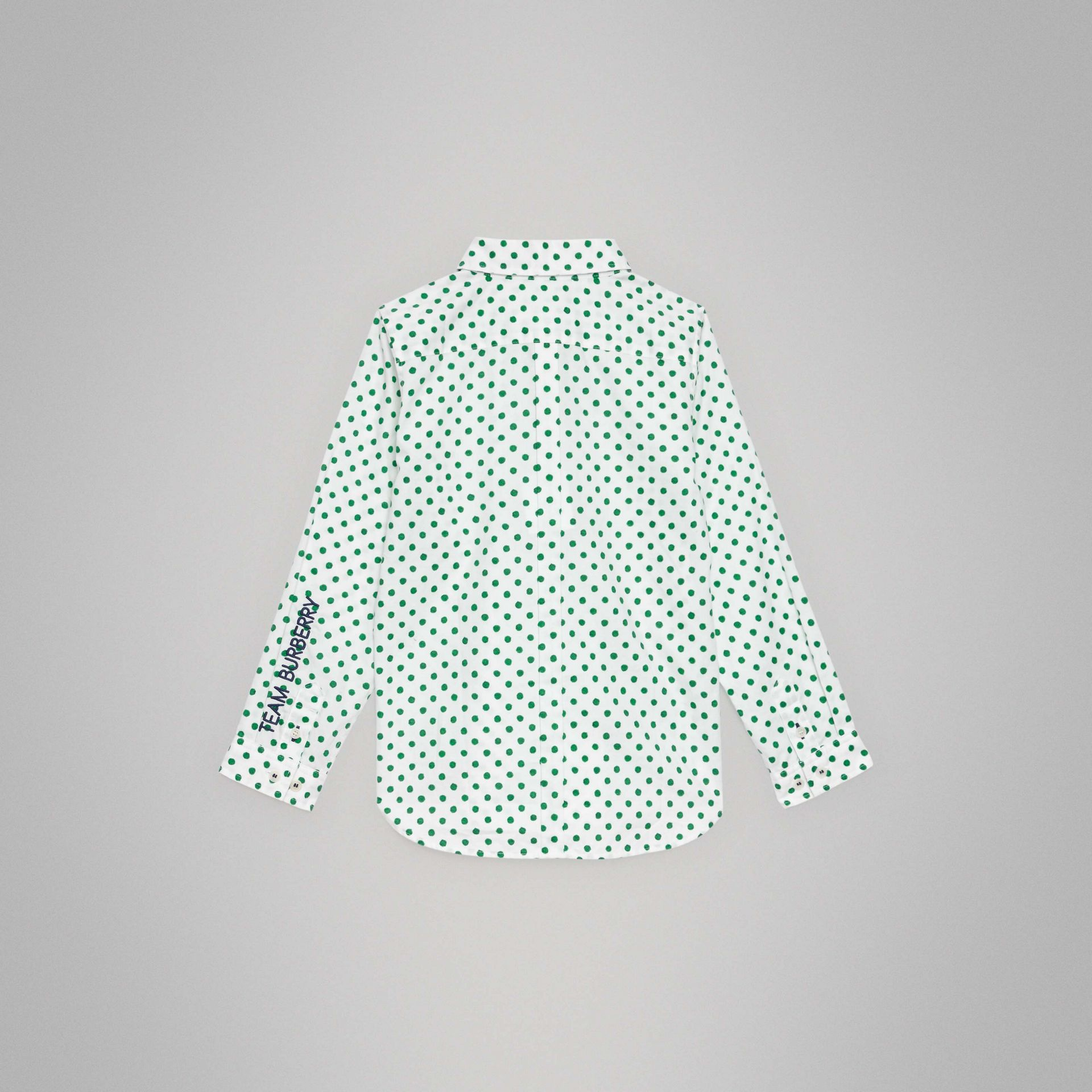 Polka Dot Cotton Oxford Shirt in Emerald Green | Burberry Singapore - gallery image 3